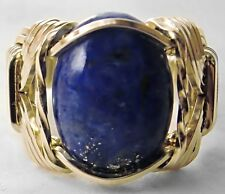 R121 Lapis Lazuli Ring 14k Gold gf Mens or Ladies Blue Mini