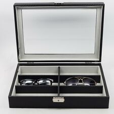 6 EYEGLASS DISPLAY CASE BLACK CARBON FIBER OVERSIZED SUNGLASS GLASSES STORAGE