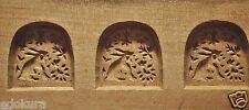 ANTIQUE JAPANESE KASHIGATA Wooden Carved Cake Mold - Rabbit and Flowers