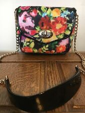 Topshop Floral Pink Patent Black Cross Travel Satchel Shoulder Designer Hobo