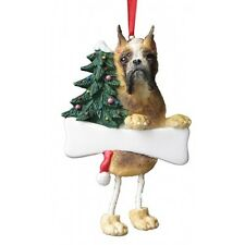 Boxer Fawn Cropped Dangling Wobbly Leg Dog Bone Christmas Ornament