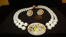 Rare Vintage 40s signed MIRIAM HASKELL Handpainted necklace earrings set estate