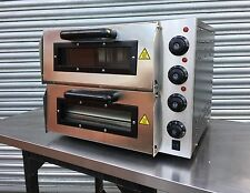 New Infernus Twin Deck Electric Pizza Oven Stone Bake Base 2x 16inch 13Amp