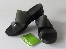 Crocs Color-Block Mini Wedge  Women's Black Slides Sandals, size 8 NEW
