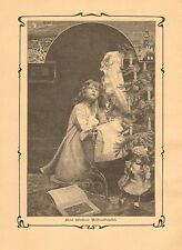 Christmas Tree, Doll, Child Praying, Vintage 1902 German Antique Art Print