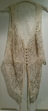 Cream lace beaded buttoned waistcoat, size 8 10. VGC!