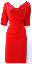 Ralph Lauren red cowl neck elegant cocktail party dress with sleeves sz 12 P new