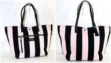 Victoria's secret Tote Bag Get Away Striped Pink Black Canvas Tassel  Purse NEW