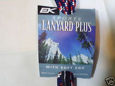EK Sports Red White & Blue Lanyard Plus with detachable dual-sided card holder
