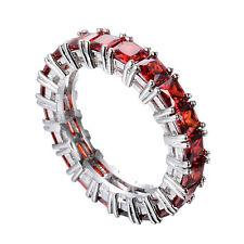 Princess Cut Red Ruby Eternity Band 10KT White Gold Filled Wedding Ring Size6-10