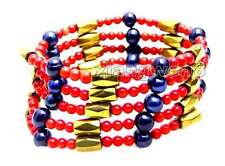 SALE 3-4mm Red Coral and Black Pearl & Gold Hematite Magnetic 29'' Bracelet-6069