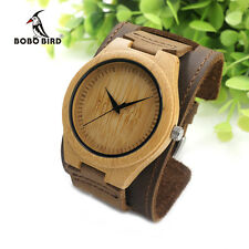 BOBO BIRD Mens Bamboo Wood Watches Detachable Wide Genuine Leather Band Straps