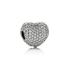 Authentic Pandora Charms Bead Pave Open My Heart Clip Bead 791427CZ