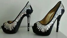 BRAND NEW - Nine West Black Satin and Sequin Ladies Platform Heels/Shoes- Size 3