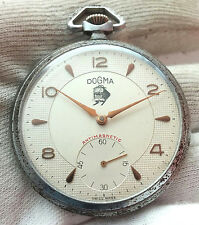 "DOGMA  RARE OLD 1950""S Mechanical  Pocket Watch Swiss Made"