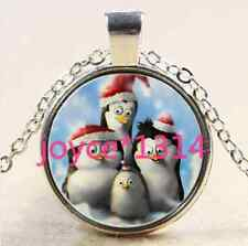 Christmas penguins Cabochon Tibetan silver Glass Chain Pendant Necklace #2534