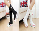 New Rock Women Girl Shoes Canvas Platform Boots Lace Up Zip Knee High Sneaker