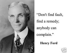 """Henry Ford """" don't find fault"""" Famous Quote 8 x 10 Photo Picture #cf2"""