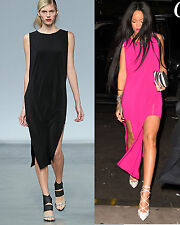 NWT Helmut Lang Faint High Slit Cut Out Dress BLACK Seen on Rihanna L
