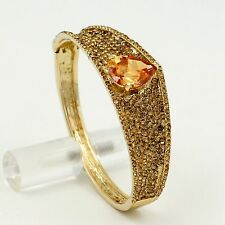 18K Gold Plated GP Golden Crystal CZ Oval Bangle Cuff Bracelet 00568