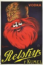 vintage poster for a RUSSIAN VODKA - RELSKY classic alcohol COLLECTORS 24X36