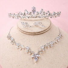 Prom Wedding Bridal Crystal Zircon Leaf Crown Tiara Necklace Earring Jewelry Set