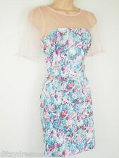 BNWT Fearne Cotton Floral Print Mesh Neck Shift Dress Size 14  Stretch RRP £60
