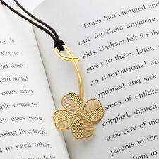 Golden FOUR LEAF CLOVER 18k gold plated BOOKMARK with leather string for gift