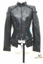 40/4-6 $3K+ Antonio Berardi Avant Garde Black Leather Fitted Corset Biker Jacket