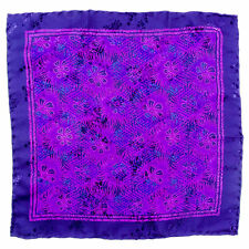 New SANTOSTEFANO Handmade Purple Magenta Silk Pocket Square Handkerchief $150