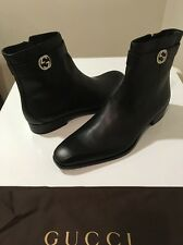 New Gucci Mens Black Leather Boots GG Metal Logo UK SZ 14.5 /US SZ 15 ❤️