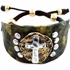 Vintage Western Cowgirl Hammered Plate Cross Leather Cuff Bracelet Silver Patina