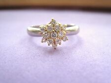 LQQK Gorgeous Platinum pt 900 & 18k Yellow Gold Diamond Cluster Ring sz 5.75