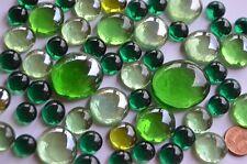 118g Glasnuggets Grünmix aus 4 verschiedenen Größen 1-3cm Deko Steine ca. 52 St.