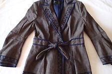 BCBG MAX AZRIA blazer,TOP SZ S,coat jacket BROWN,NAVY BLUE TRIM,BELTED,LINEN GU