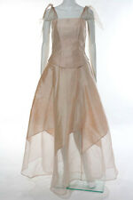Alice Padrul Petal Pink Silk Bow Straps Sleeveless Two Piece A-Line Ball Gown Dr