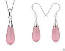 925 Sterling Silver Water Drop Pink Opal Pendant Necklace Dangle Earrings Sets