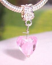 Pink Foil Murano Glass Heart Dangle Bead fits Silver European Charm Bracelets