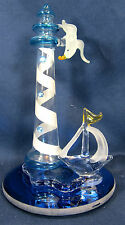 Light House with Sail Boat and Sea Gull Hand made Art Glass Figurine Sealife