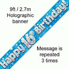 16TH BIRTHDAY BLUE HOLOGRAPHIC PARTY BANNER  2.7M (9FT) LONG REPEATS 3 TIMES