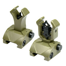 Premium Tactical Flip up Front Rear Iron Sight Set Diamond Aperture BUIS FDE Tan