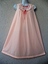 Vintage Nightgown Silky Nylon LACE Sheer Modest Cut Keyhole Peach Nice Sweep M