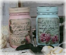 A set of 2 Vintage Shabby Chic Painted Decor Decoupage Mason Jars, French Label