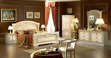 Aida Ivory & Gold Classic Italian Made 5 Piece Traditional Queen Bedroom Set