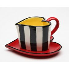 NEW SET OF 2 PC HEART SHAPE BLACK+WHITE STRIPED WITH YELLOW+RED CUP & SAUCER