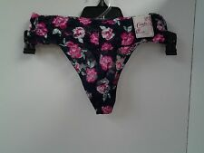 Candies Intimates Thong Panty Size M Blue Pink Floral See Thru Lace 2CP069