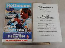 REGOLAMENTO 1986 RALLY RALLYE RMC ALPIN BEHRA 106 PAG LANCIA OPEL 205 5 VISA ETC