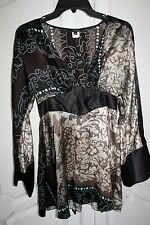 SINGLE Geometric Patchwork Silk Empire Waist Kimono Blouse Top M
