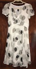 Marc Jacobs Polka Dot Silk Circles Black White Grey Dress 6 EUC