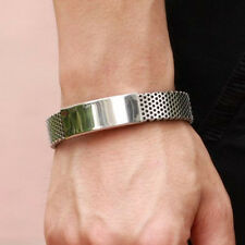 Fashion Mens Silver Stainless Steel Black Leather Cuff Bangle Bracelet Wristband